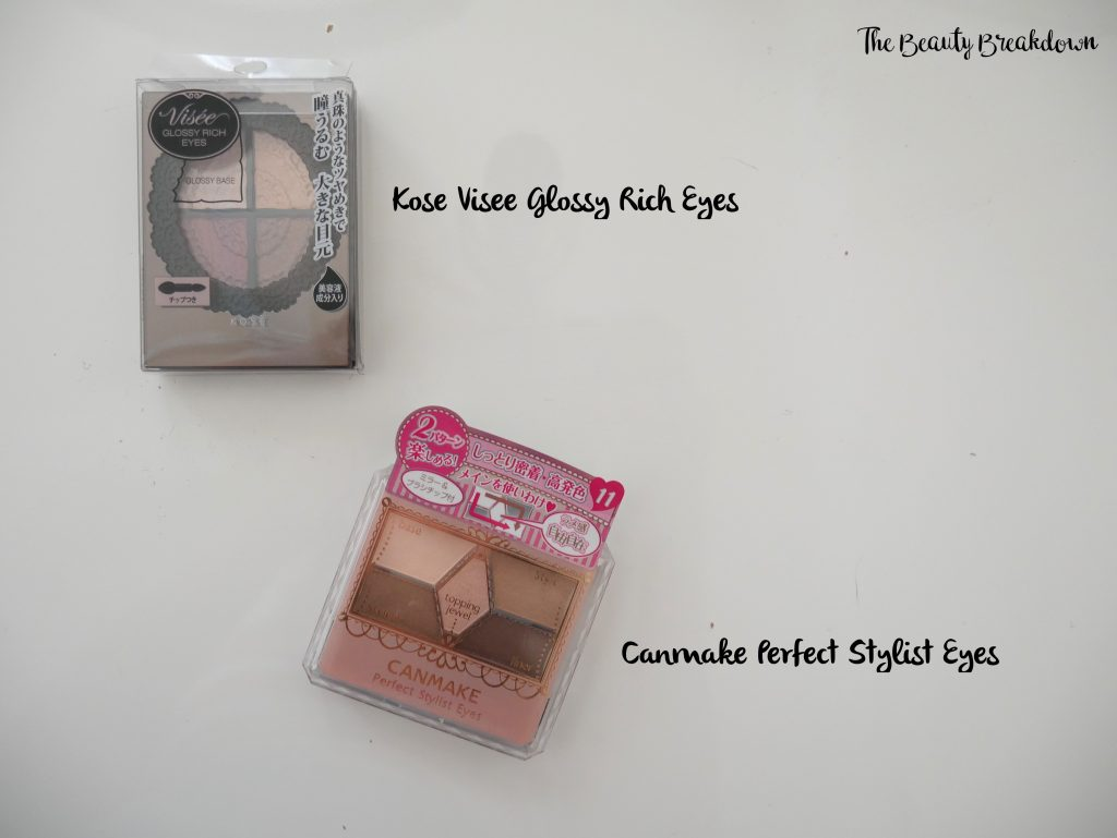 kose visee glossy eyes and canmake perfect stylist eyeshadow