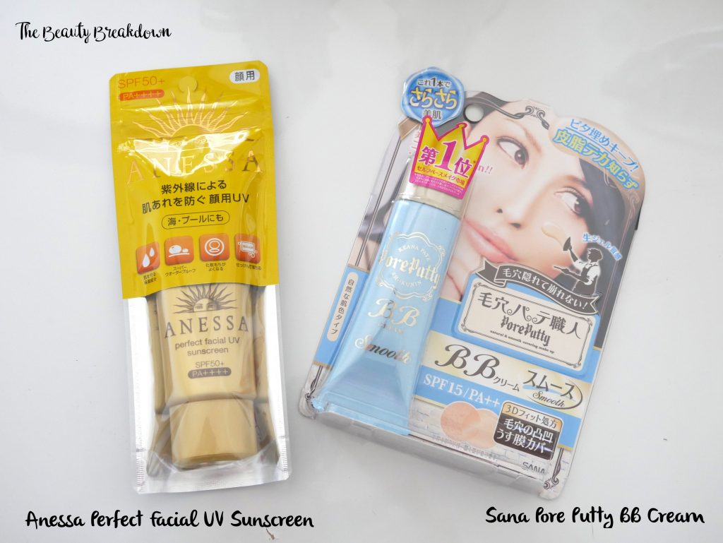 anessa sunscreen and sana pore putty bb cream