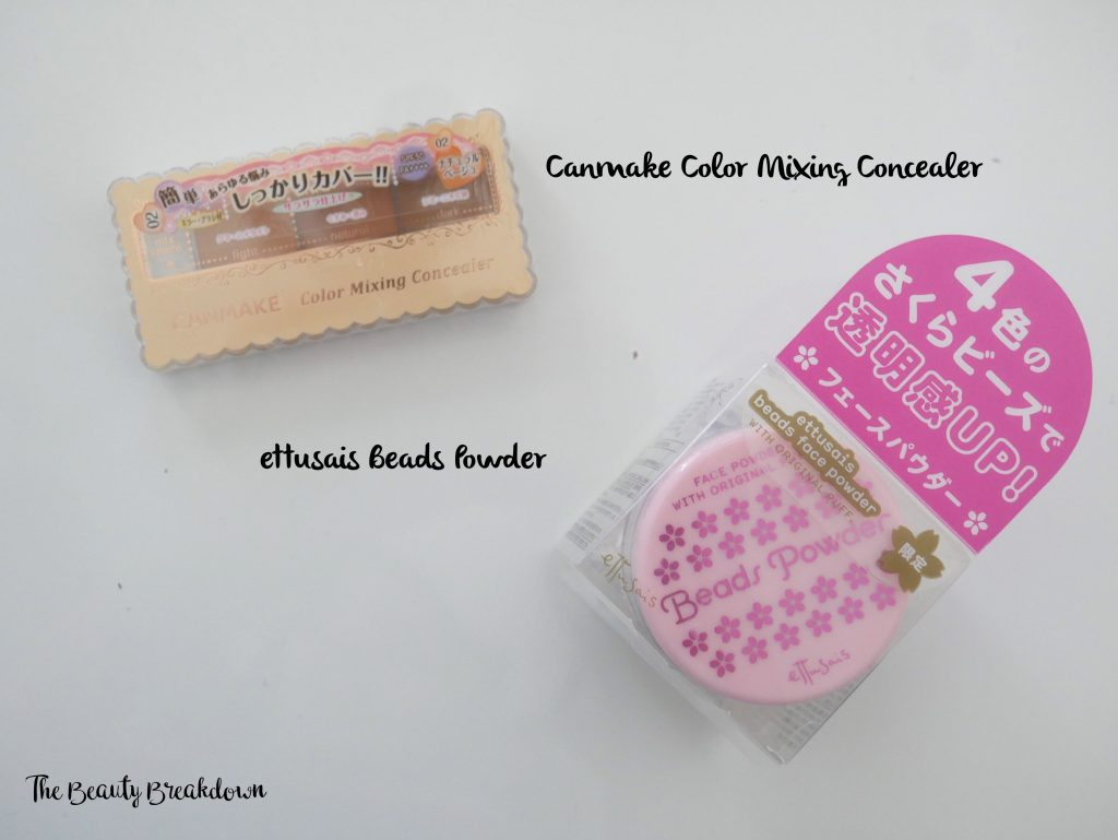 canmake concealer and ettusais beads powder